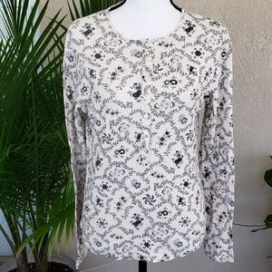 NY&C  floral cream colored shirt